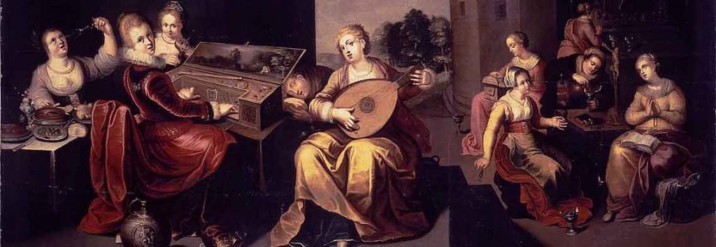 Moralistické pojetí podobenství o deseti družičkách od Hieronymuse Franckena mladšího (kolem r. 1616, část reprodukce).