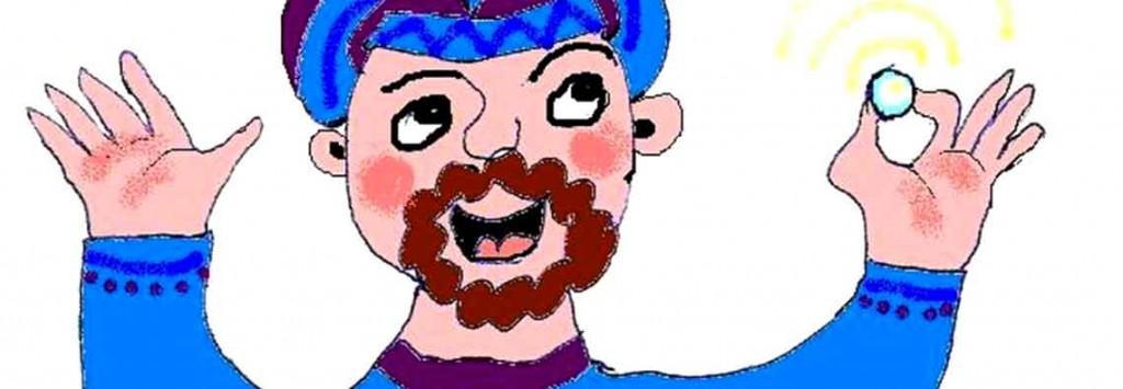 kresba radujícího se muže, který našel perlu