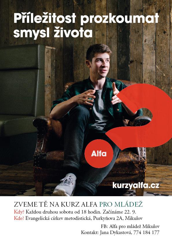 Plakátek - pozvánka na Kurz Alfa pro mládež v Mikulově