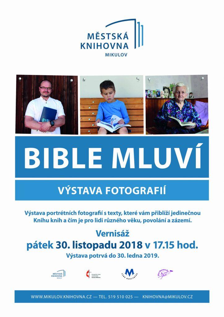 Plakát výstavy Bible mluví v Městské knihovně Mikulov