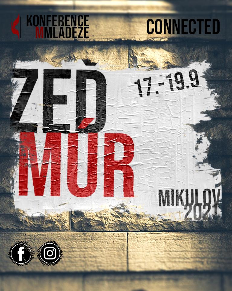 Banner: pozvánka na Konferenci mládeže (zeď s plakátem Zeď/Múr 6.-8.11. Mikulov 2020)