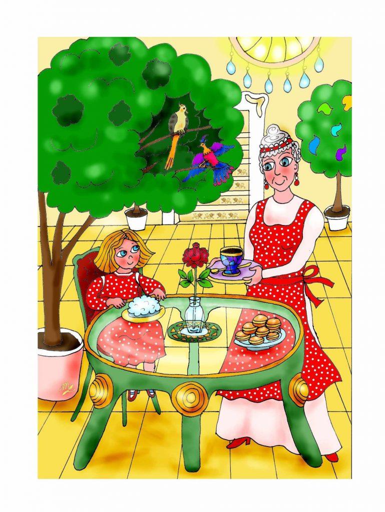 Dobrodružství U Anežky - ilustrace, která v knize není. V krásné zahradě, u proskleného stolu, sedí Anežka s dortíkem a krásná paní jí podává čaj. Anežka má šaty a paní zástěru, která je jako obálka knihy - červená s bílými puntíky.